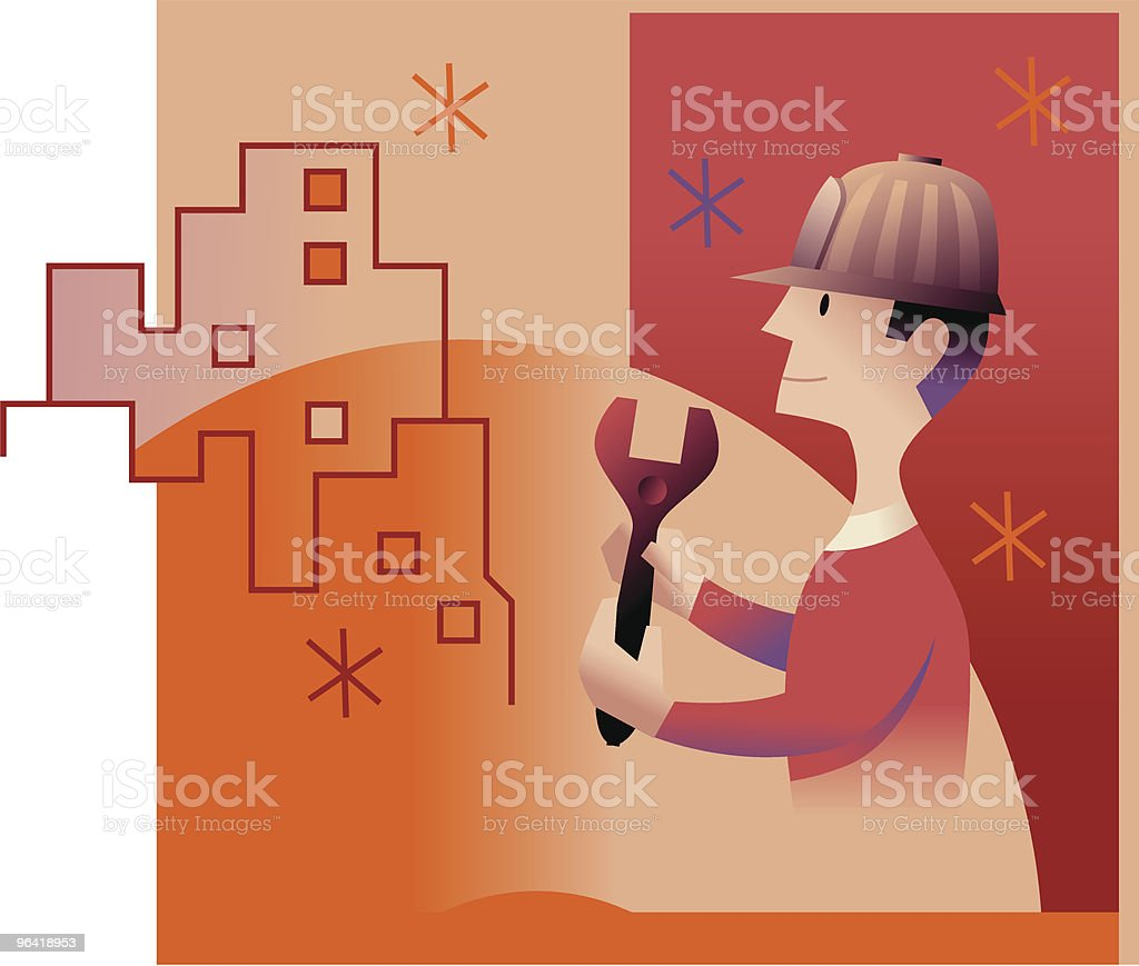 Building Worker vector art illustration