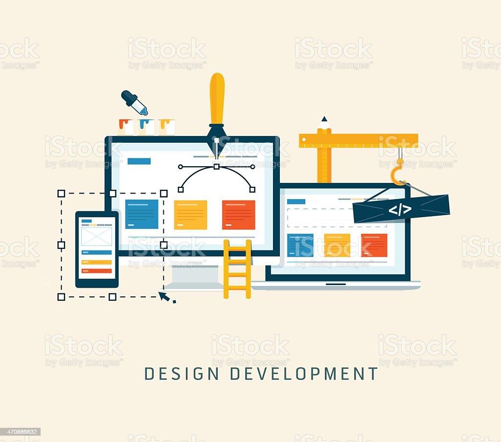 Building/Designing a website or application. vector art illustration