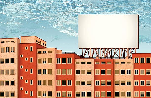 Bâtiments et panneau d'affichage avec fond de pluie - Illustration vectorielle