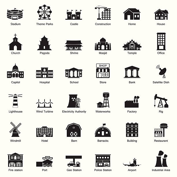 Buildings and city icon set Buildings and city icon set fire station stock illustrations