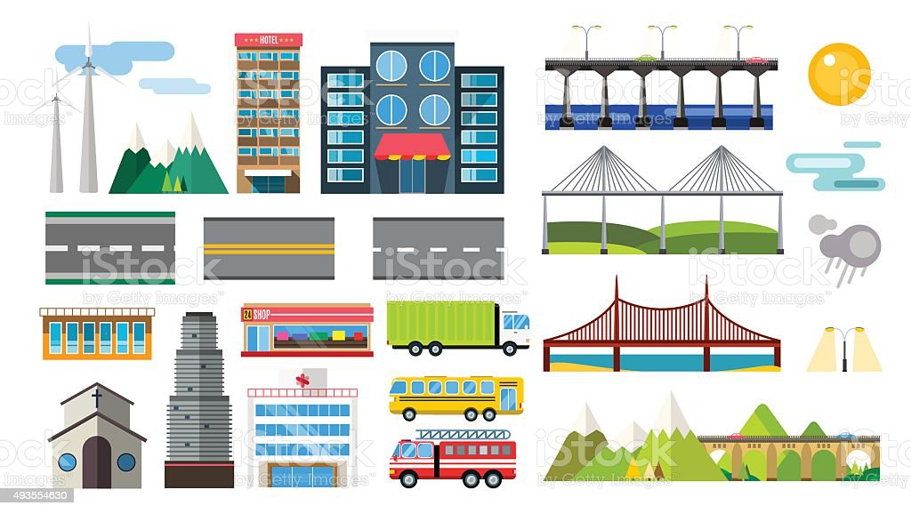 Buildings and city transport flat style illustration vector art illustration
