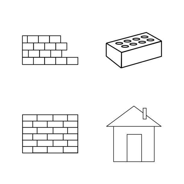 Buildings And Construction simple linear outline vector icon set. vector art illustration