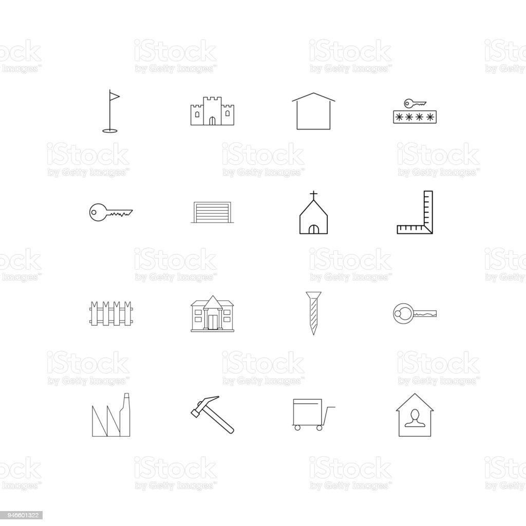 Gebäude Und Konstruktionen Einfache Lineare Symbole Festgelegt ...