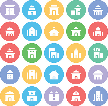 Buildings and Furniture Colored Icons Set