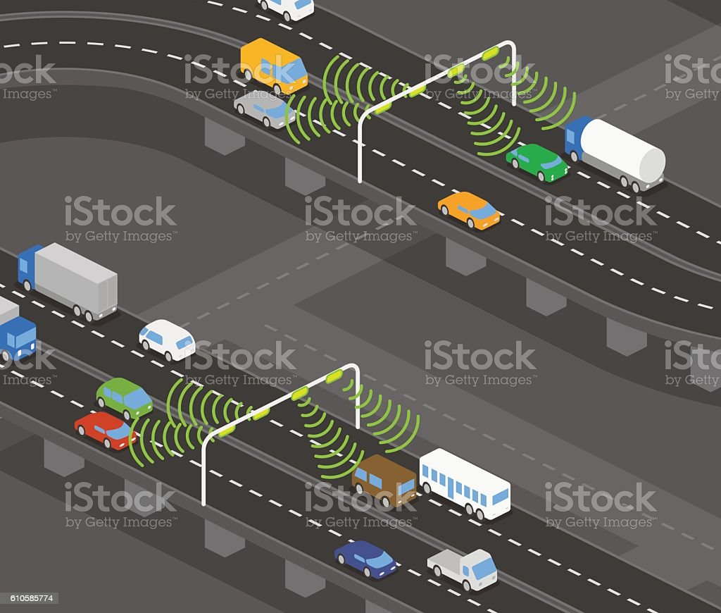buildings and houses, roads and various vehicles vector art illustration