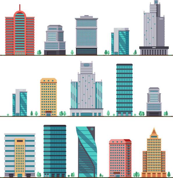 stockillustraties, clipart, cartoons en iconen met gebouwen en moderne stad herbergt platte vector iconen - wolkenkrabber