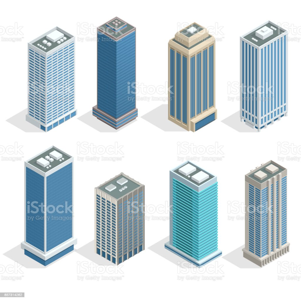 Buildings and modern city houses on 30-40 floors flat isoleted vector icons. Isometric projection of a three-dimensional houses, buildings for web projects, business presentations, infographics, game vector art illustration