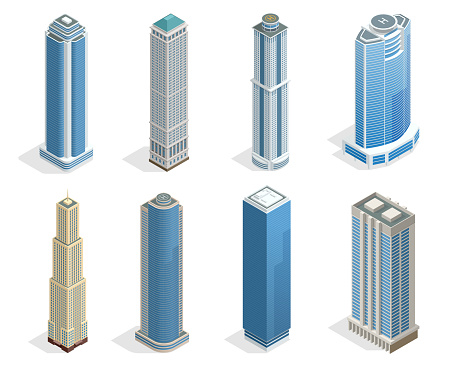 Buildings and modern city houses on 50-70 floors flat isoleted vector icons. Isometric projection of a three-dimensional houses, buildings for web projects, business presentations, infographics, game clipart