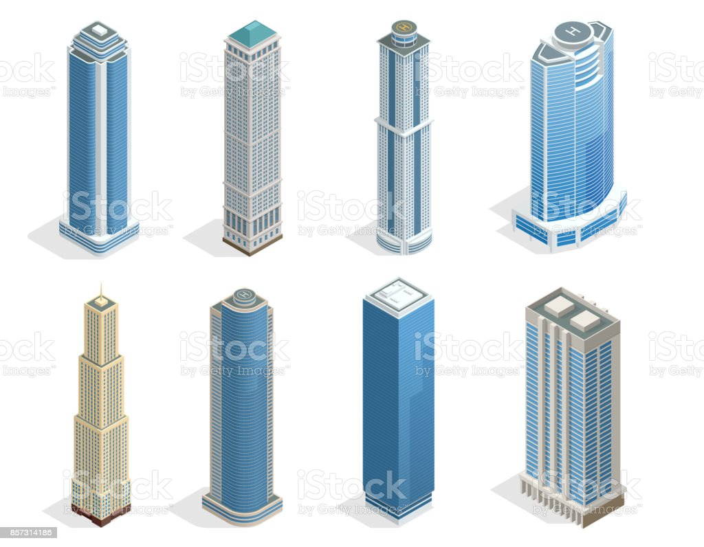 Buildings and modern city houses on 50-70 floors flat isoleted vector icons. Isometric projection of a three-dimensional houses, buildings for web projects, business presentations, infographics, game vector art illustration