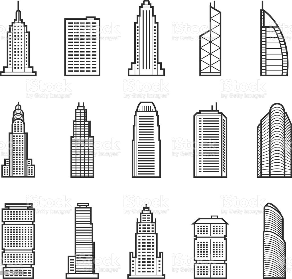 Buildings and skyscraper icons on white background vector art illustration