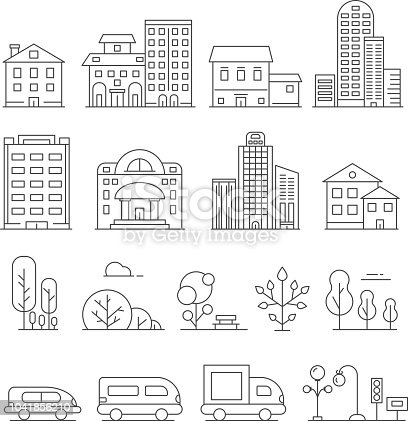 Buildings and urban objects. Vector linear pictures of cars, house and urban trees. Illustration of urban house architecture, construction and transport