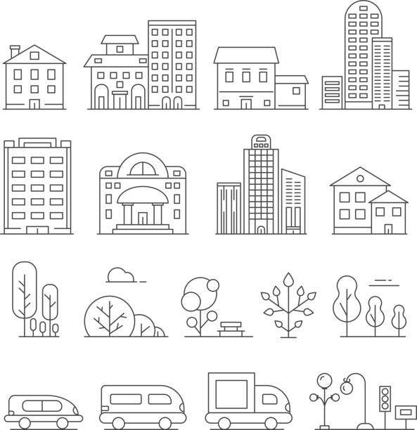 buildings and urban objects. vector linear pictures of cars, house and urban trees - architecture clipart stock illustrations
