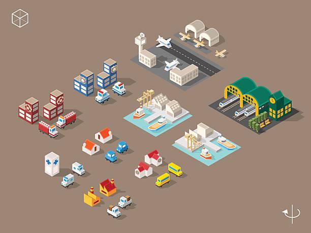 stockillustraties, clipart, cartoons en iconen met buildings and vehicles with shadows. - airport pickup