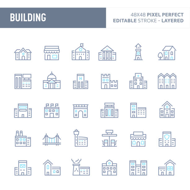 illustrazioni stock, clip art, cartoni animati e icone di tendenza di buildings & architecture vector icon set (eps 10) - grocery home