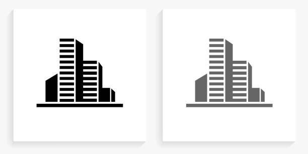 Buildings Black and White Square Icon vector art illustration