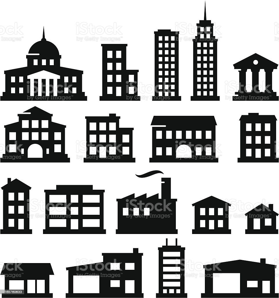 Buildings - Black Series vector art illustration