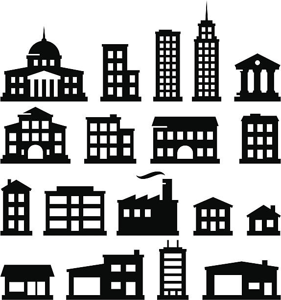 Buildings - Black Series 18 buildings. Vector icons for video, mobile apps, Web sites and print projects. See more in this series. clip art stock illustrations