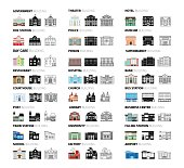 Buildings icons set in cartoon, silhouettes and outlines. Vector illustration