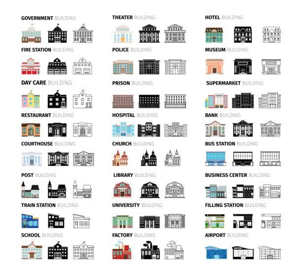 ilustrações, clipart, desenhos animados e ícones de edifícios dos desenhos animados conjunto de ícones - banco edifício financeiro