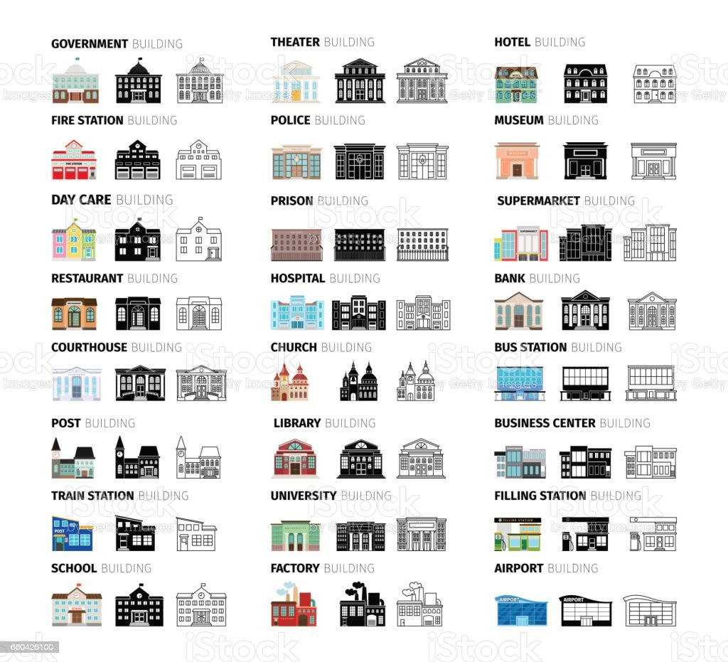 Buildings cartoon icons set vector art illustration