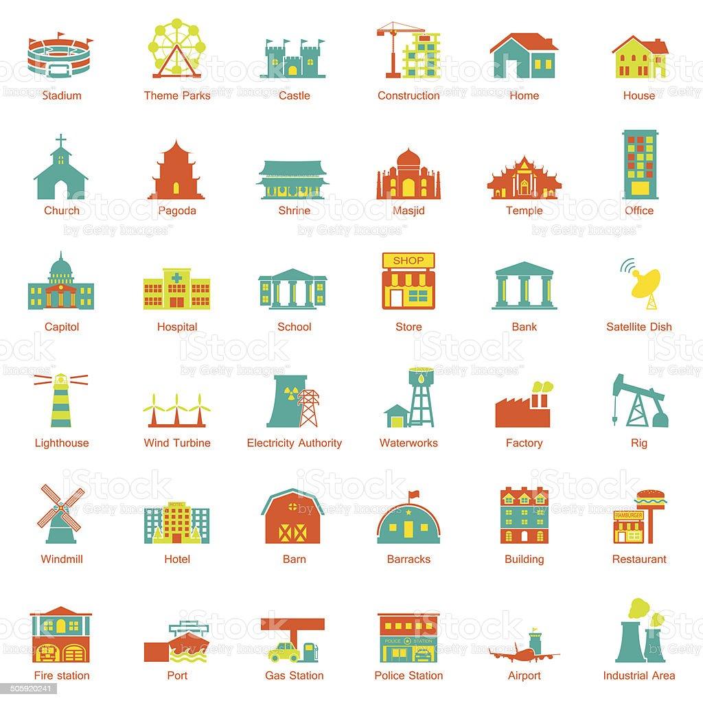 Buildings city icon set vector art illustration