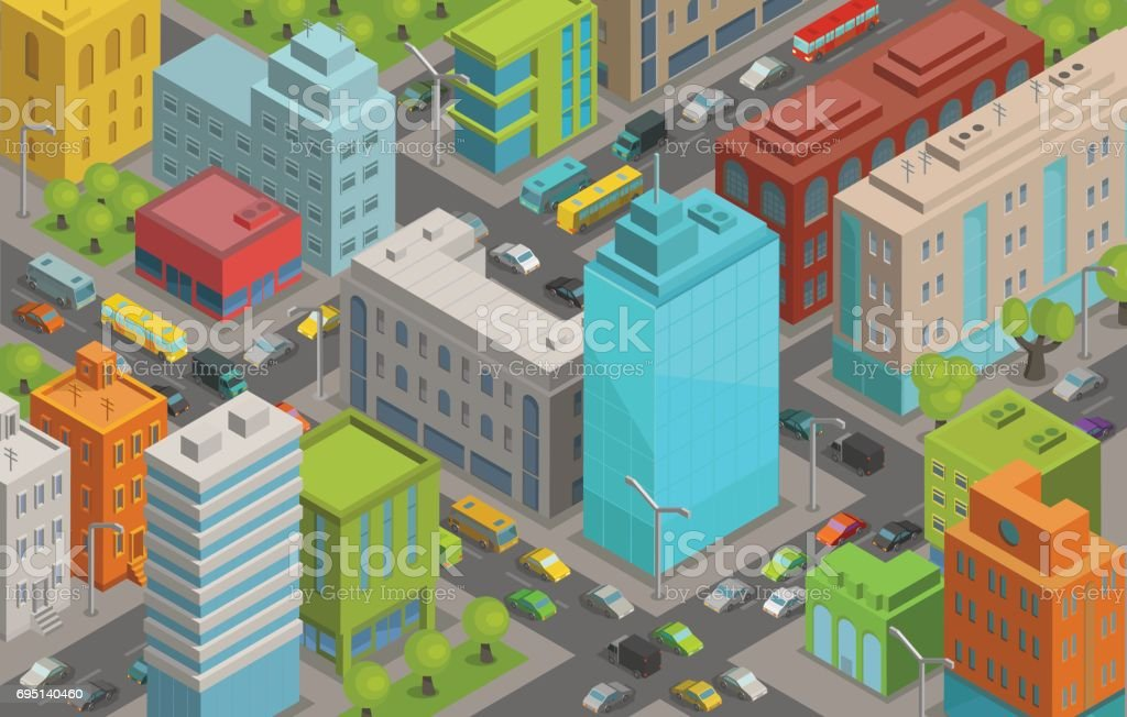 Buildings city streets roads and traffic isometric 3d vector illustration City landscape, top view vector art illustration
