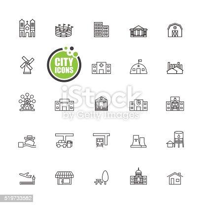 Buildings city  vector illustration  set