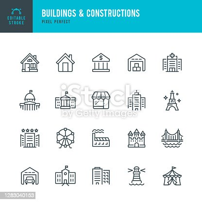 Buildings & Constructions - thin line vector icon set. 20 linear icon. Pixel perfect. Editable outline stroke. The set contains icons: Residential Building, Bank, Skyscraper, Factory, Hospital, White House, Capitol , Store, Castle, Warehouse, Lighthouse, Eiffel Tower, Bridge, School.