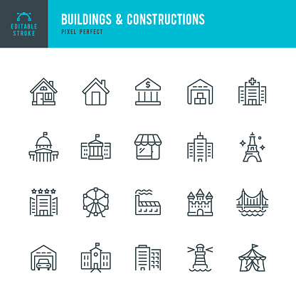 Buildings & Constructions - thin line vector icon set. Pixel perfect. Editable stroke. The set contains icons: Residential Building, Bank, Skyscraper, Factory, Hospital, White House, Capitol , Store, Castle, Warehouse, Lighthouse, Eiffel Tower, Bridge, Sc