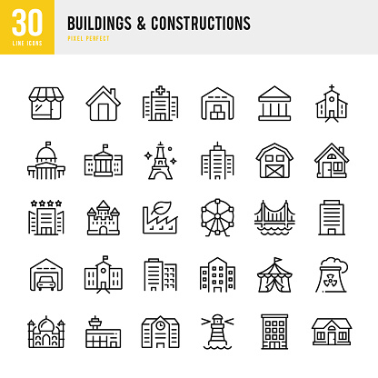 Buildings & Constructions - thin line vector icon set. Pixel perfect. The set contains icons: Bank, House, Capitol Building, Skyscraper, Taj Mahal, Eiffel Tower, Bridge, Hospital, Airport, Church, Lighthouse, Factory.