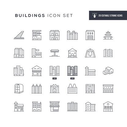 Buildings Editable Stroke Line Icons