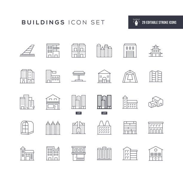 stockillustraties, clipart, cartoons en iconen met pictogrammen voor bewerkbare lijn van gebouwen - gebouw exterieur