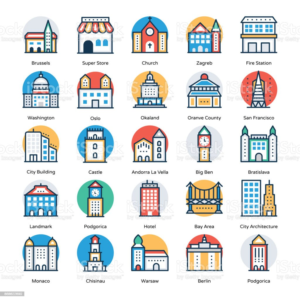 Buildings Flat Icons Set vector art illustration