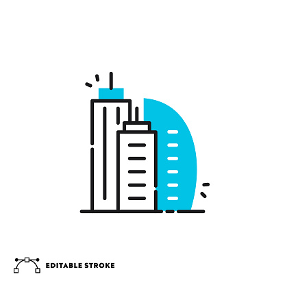 Buildings Flat Lineal Icon with Editable Stroke