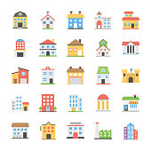 Buildings Flat Vector Icons Collection