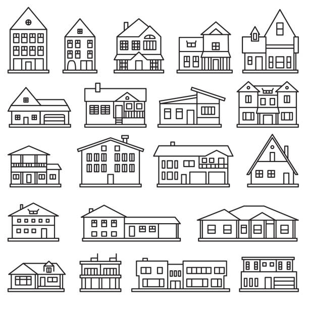 Buildings, home and house thin line icon set. Vector icons. Buildings, home and house thin line icon set. Vector icons. eps10. styles stock illustrations