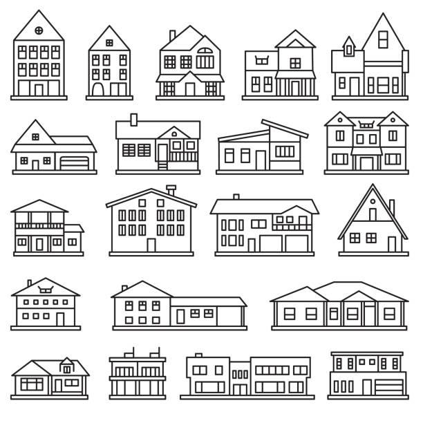 大廈, 家和房子稀薄的線圖示設置。向量圖示。 - 現代 風格 幅插畫檔、美工圖案、卡通及圖標
