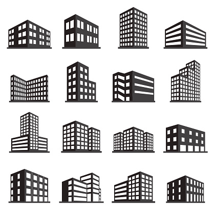 Buildings icon and office icon set clipart