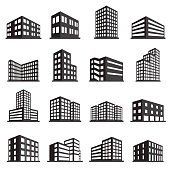 Buildings icon and office icon set