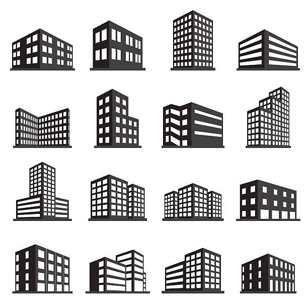 ilustrações, clipart, desenhos animados e ícones de edifícios de escritórios e ícone conjunto de ícones - arranha céu