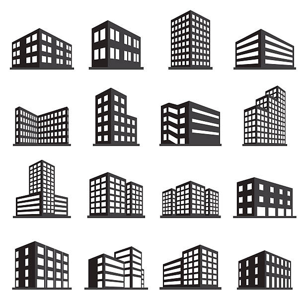 buildings icon and office icon set - architecture symbols stock illustrations