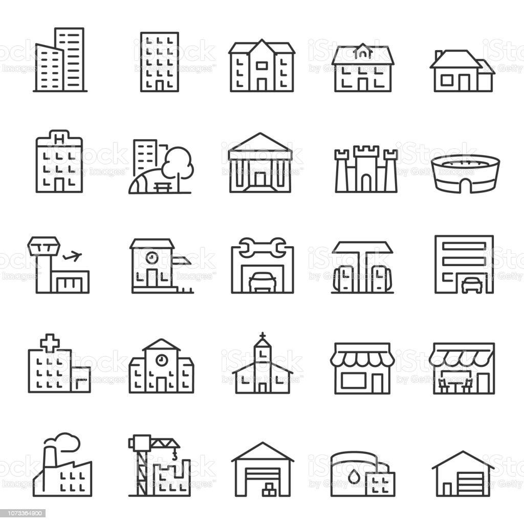Buildings, icon set. Various city edifices, houses. linear icons. Line with editable stroke - Royalty-free Aeroporto arte vetorial