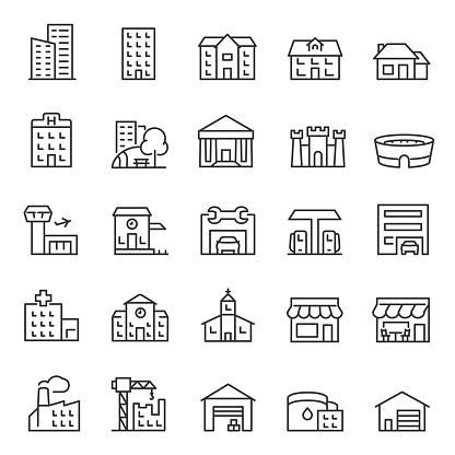 Buildings, icon set. Various city edifices, houses. linear icons. Line with editable stroke clipart