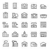 Buildings, icon set. Various city edifices, houses. Line with editable stroke