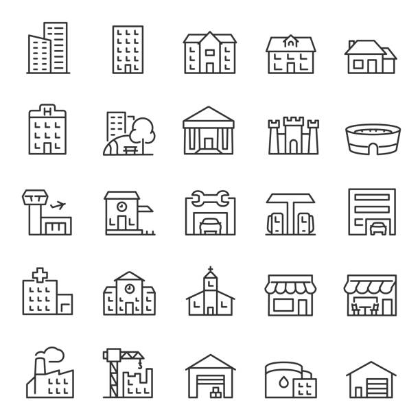 buildings, icon set. various city edifices, houses. linear icons. line with editable stroke - konstrukcja budowlana stock illustrations
