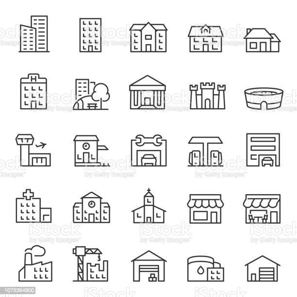 Buildings Icon Set Various City Edifices Houses Linear Icons Line With Editable Stroke - Arte vetorial de stock e mais imagens de Aeroporto