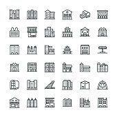 36 Buildings Icons - Line Series