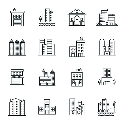 Buildings Icon Set clipart