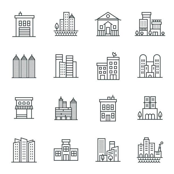 ilustrações, clipart, desenhos animados e ícones de conjunto de ícones de edifícios - banco edifício financeiro