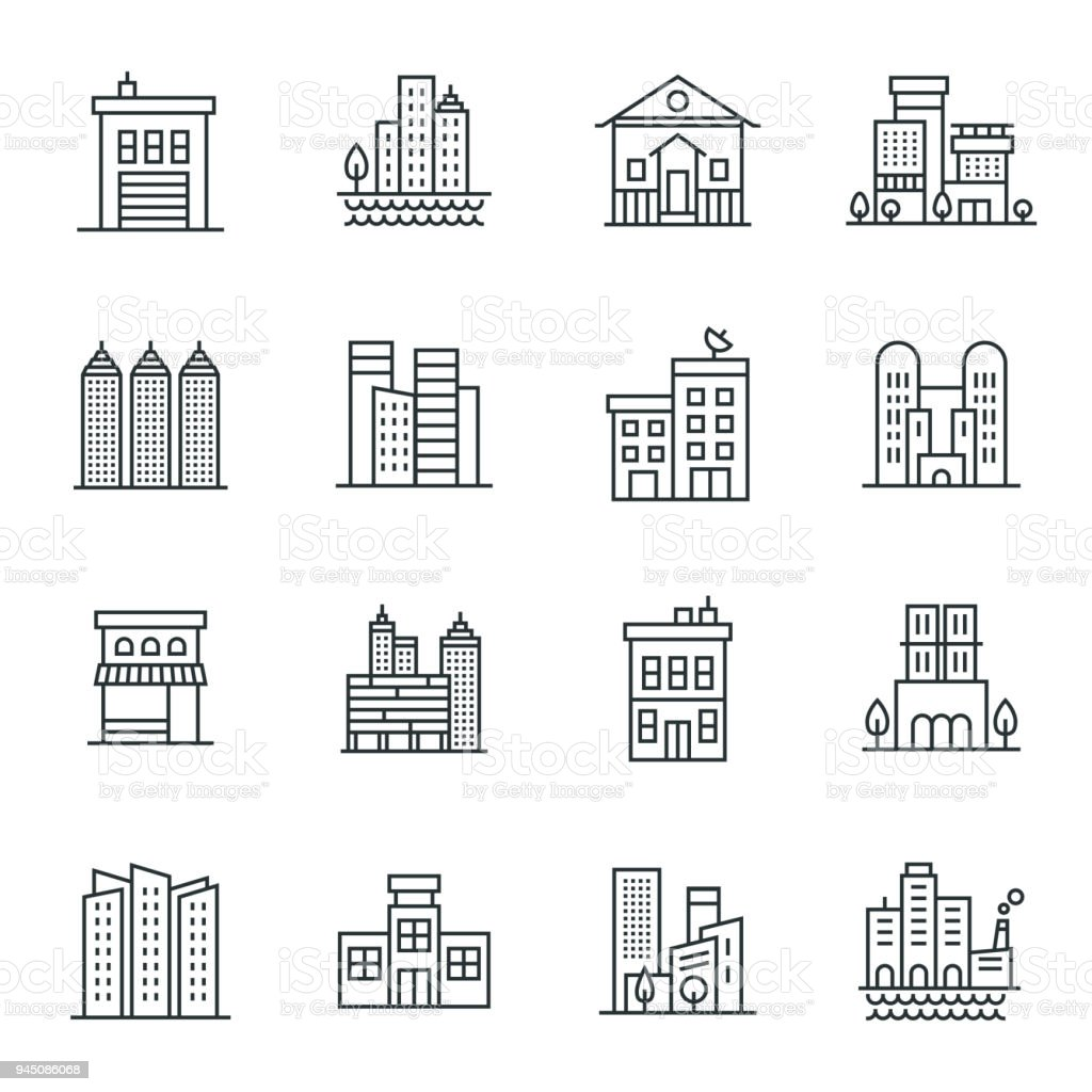 Buildings Icon Set vector art illustration